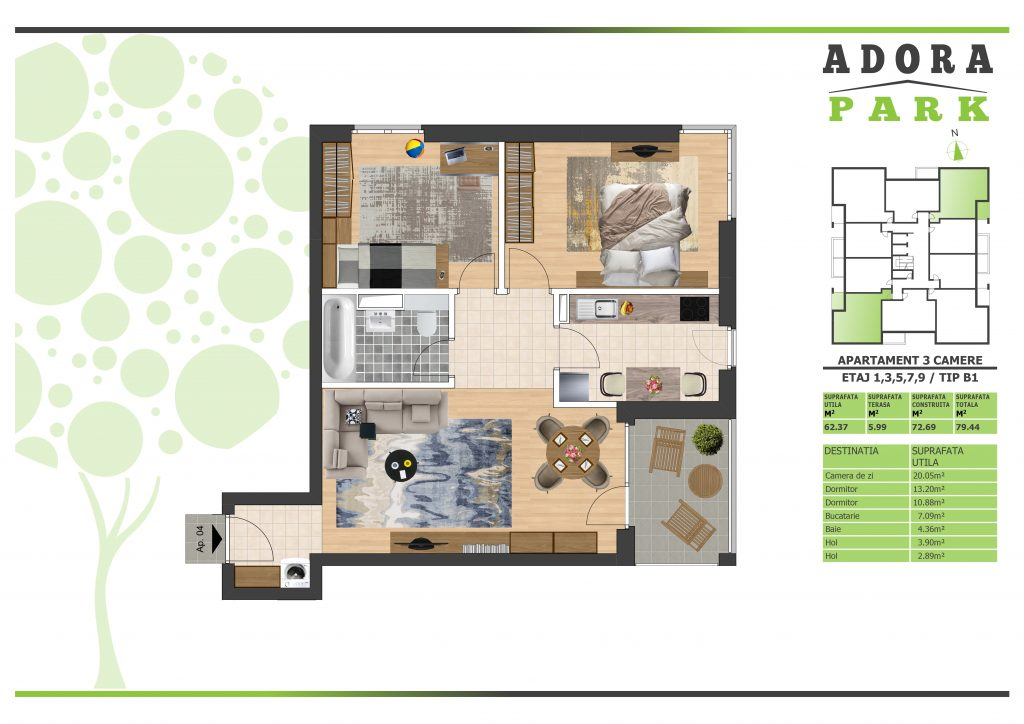 Apartament 3 camere Arad B1