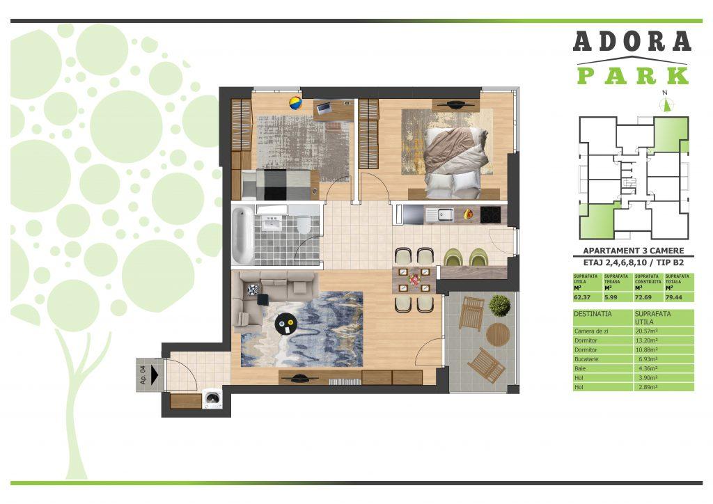 Apartament 3 camere Arad B2
