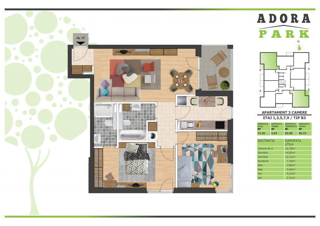 Apartament 3 camere Arad B3