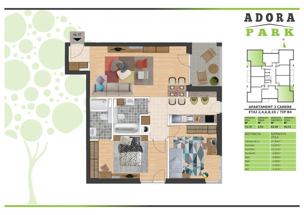 Apartament 3 camere Arad B4