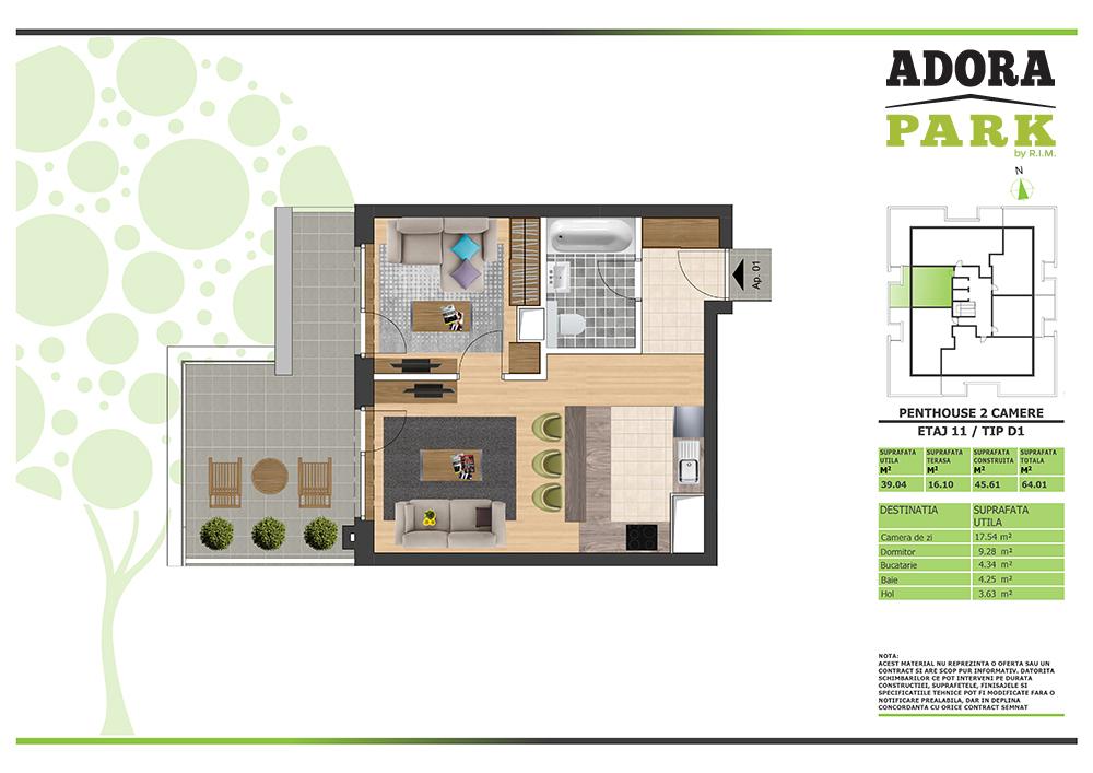 Penthouse 2 camere Arad D1