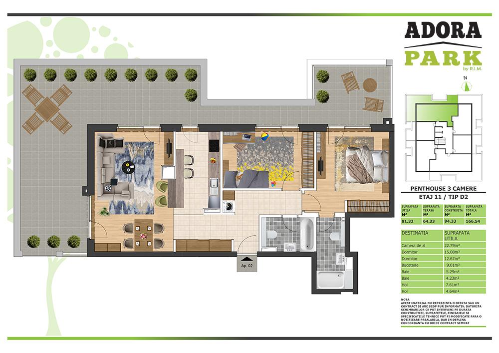 Penthouse 3 camere Arad D2