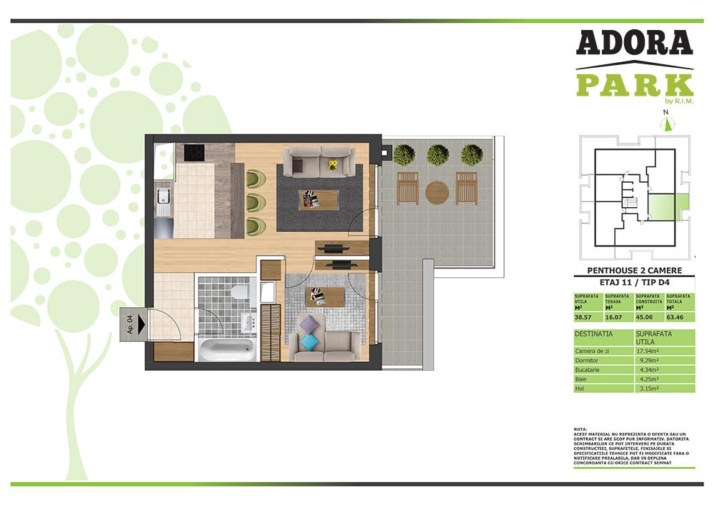 Penthouse 2 camere Arad D4