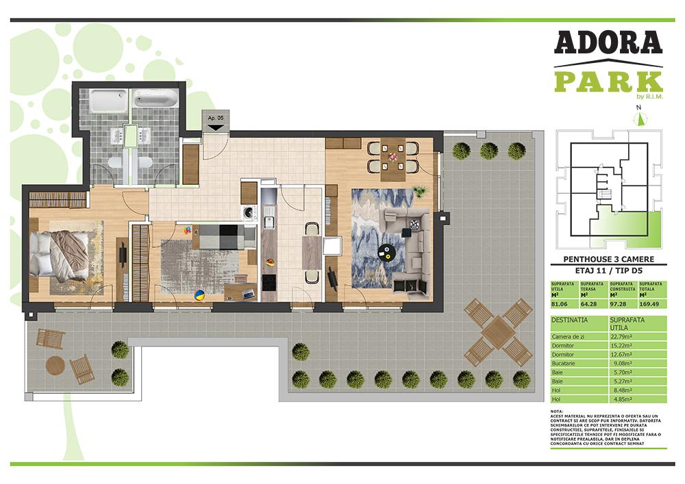 Penthouse 3 camere Arad D5